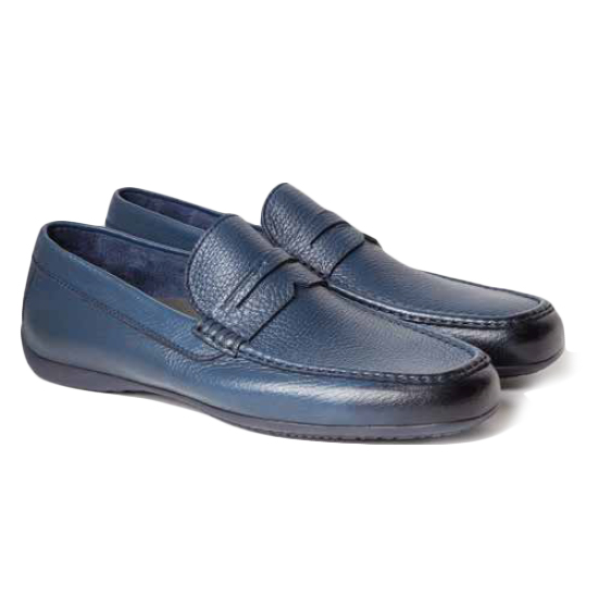 Moreschi Panama Deerskin Driving Loafers Blue Image