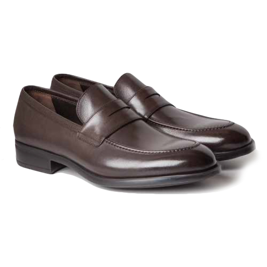 Moreschi Sligo Buffalo Penny Loafers Dark Brown Image