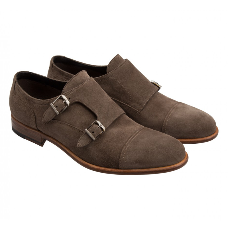 Moreschi 042162A Suede Double Monk Strap Shoes Grey (Taupe) (SPECIAL ORDER) Image