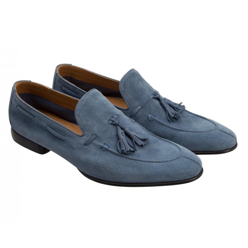 Moreschi 042163A Suede Fringe Tassel Loafers Blue (SPECIAL ORDER) Image