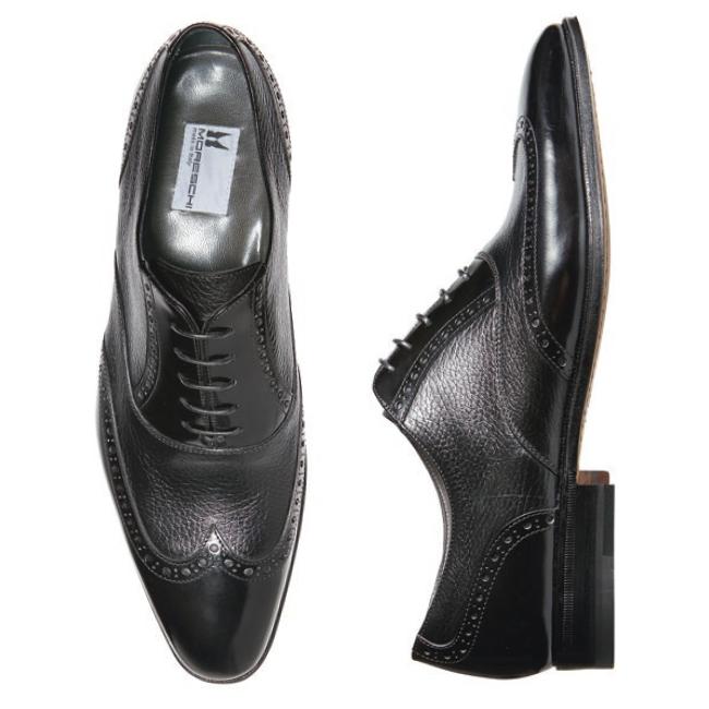 Moreschi Tallin Calfskin & Grained Calfskin Wingtip Oxfords Black Image