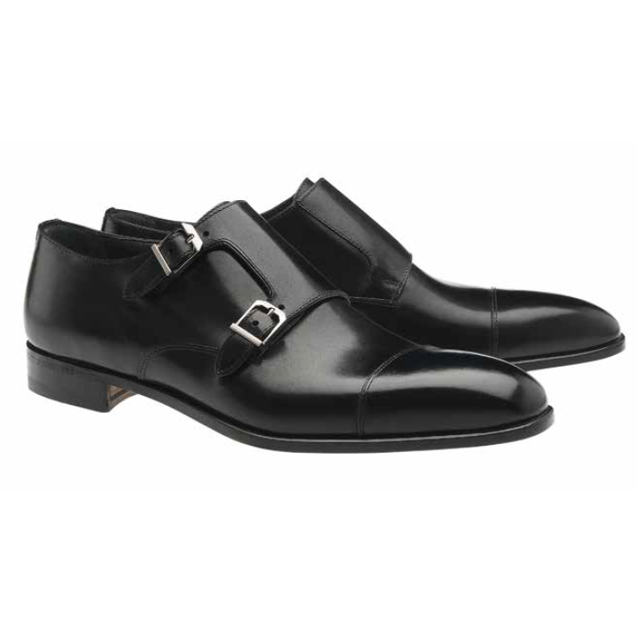 Moreschi Toronto Double Monk Strap Cap Toe Shoes Black Image