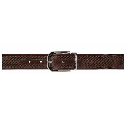 Moreschi Trinidad Woven Calfskin Belt Brown Image