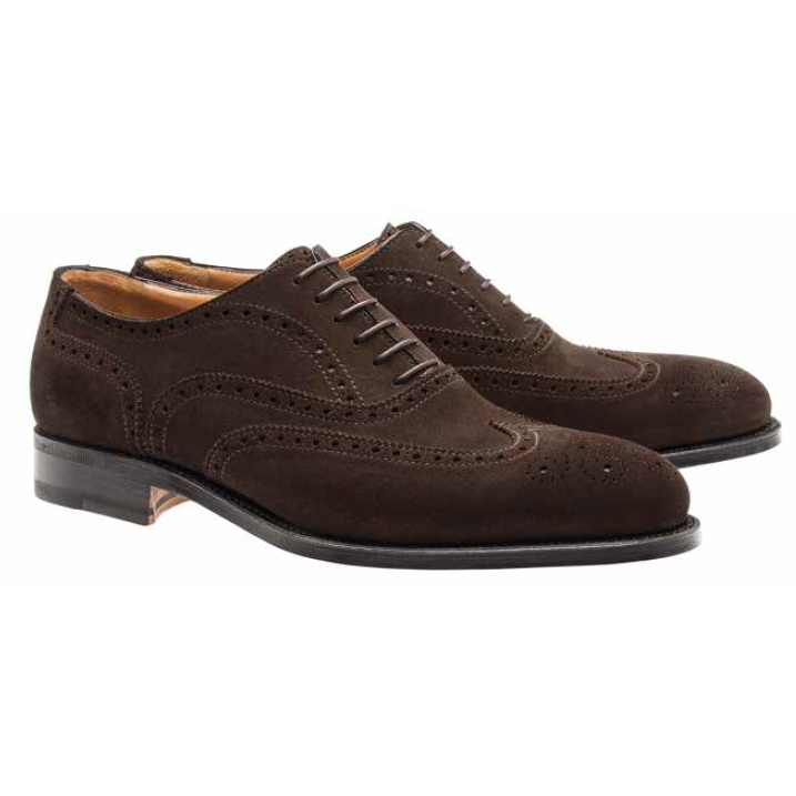 Moreschi Windsor Suede Goodyear Welted Wingtip Brogues Dark Brown Image
