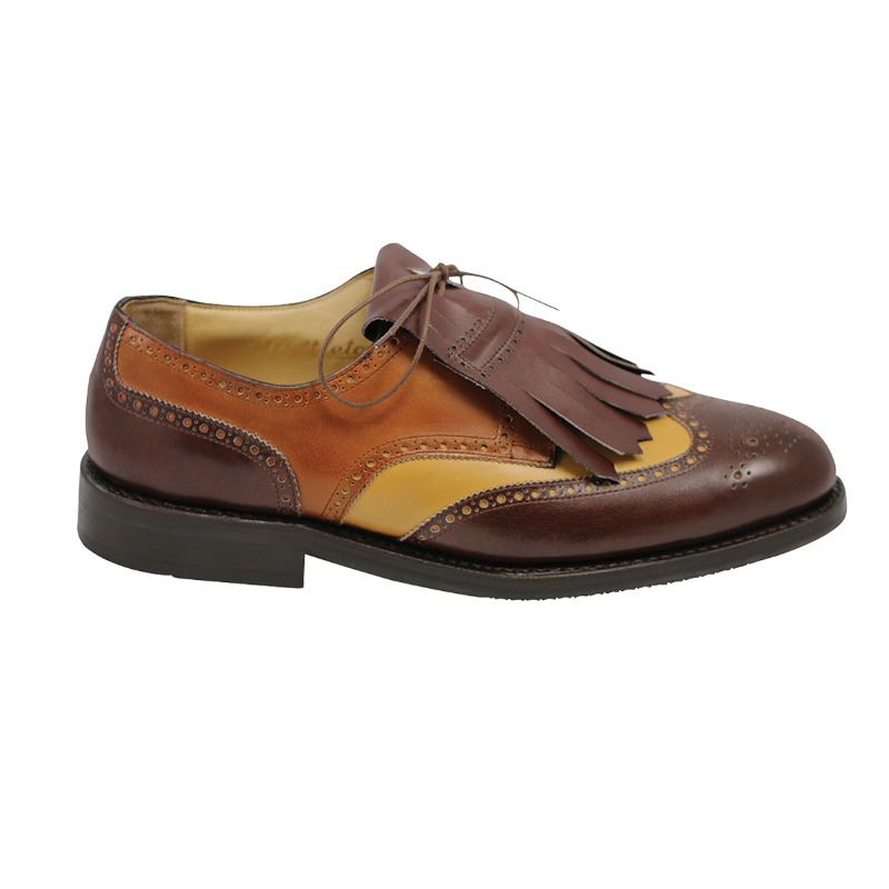Nettleton Golf Kilted Wingtip Shoes Tri Color Brown Image