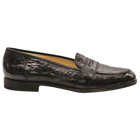 Nettleton Houston Genuine Crocodile Penny Loafers Black Image
