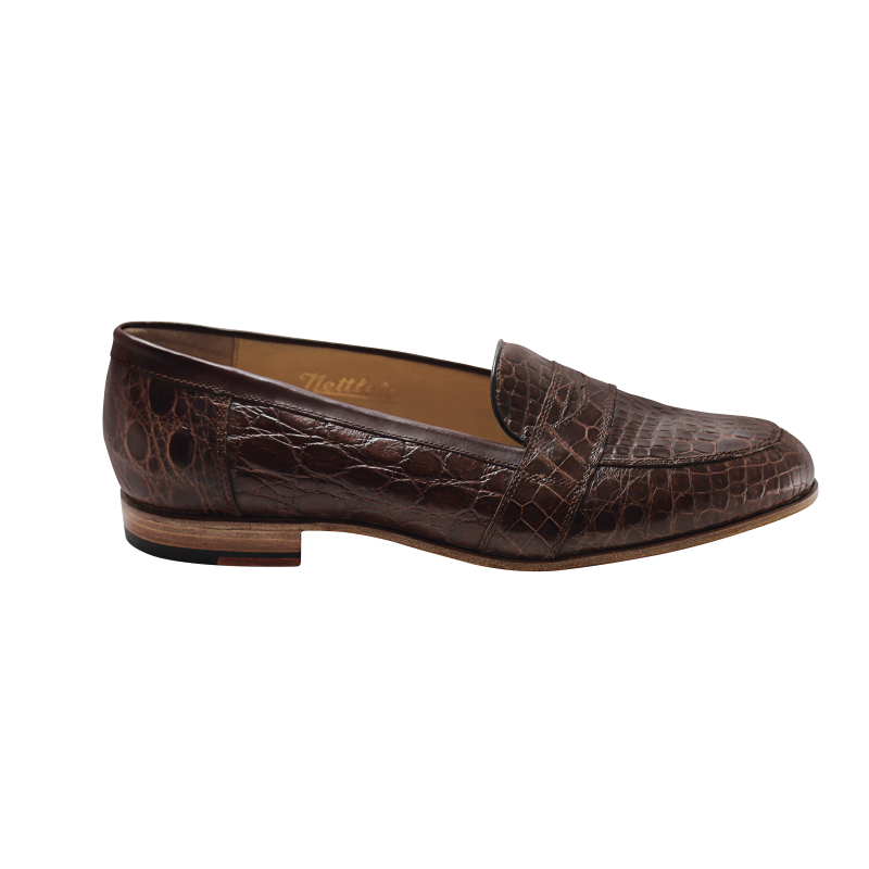 Nettleton Houston Genuine Crocodile Penny Loafers Brown Image