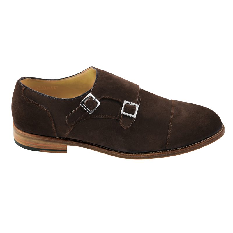 Nettleton Sarasota Suede Double Monk Strap Goodyear Welted Shoes Brown Image