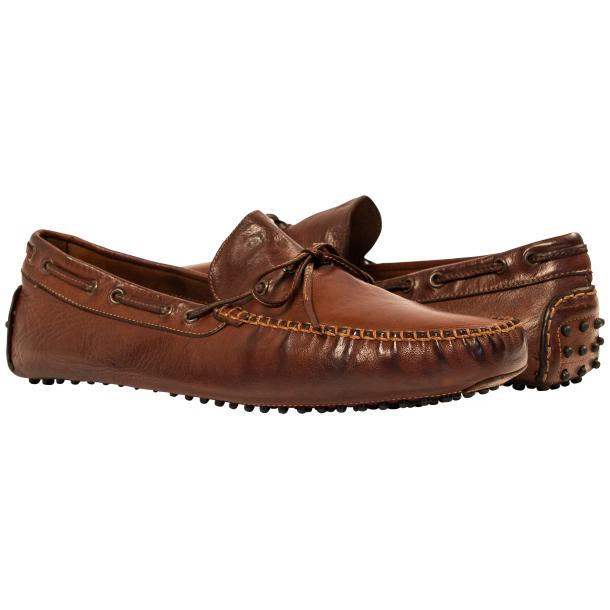 Paolo Shoes Adam Nappa Driving Shoes Brown Image