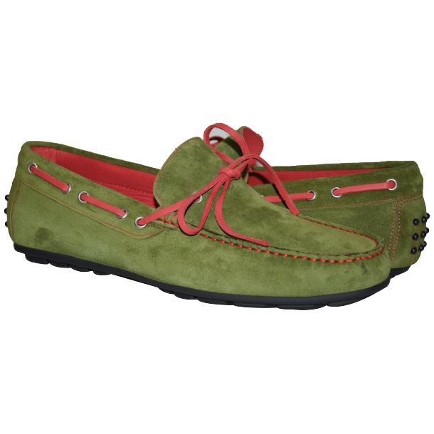 Paolo Shoes Armando Suede Driving Shoes Khaki / Red Image