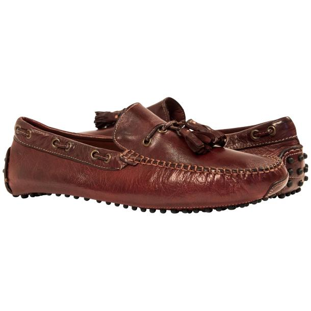 Paolo Shoes Blake Tasseled Driving Loafers Oxblood Image