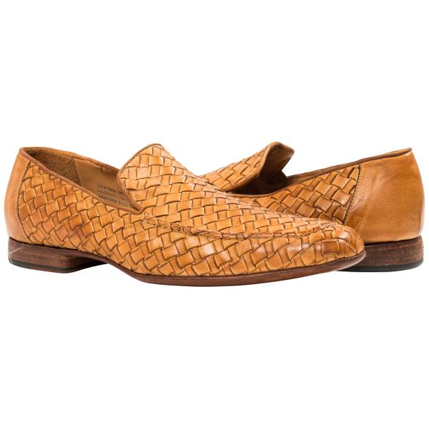 Paolo Shoes Caesar Nappa Woven Loafers Brick Image