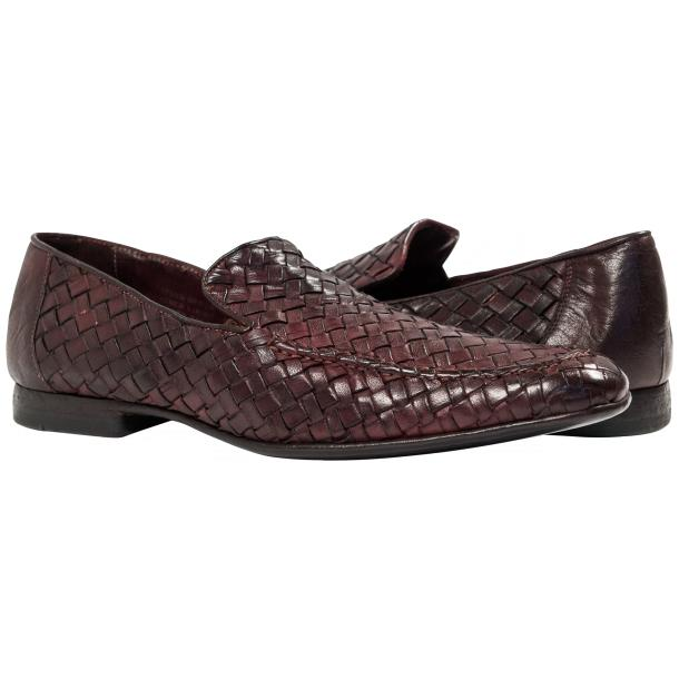Paolo Shoes Caesar Nappa Woven Loafers Liver Image