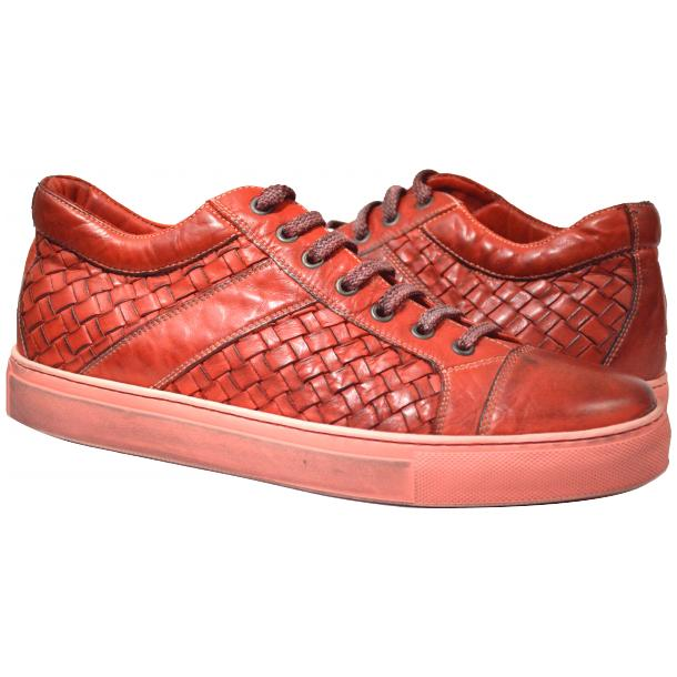 Paolo Shoes Carlo Woven Sneakers Red Image