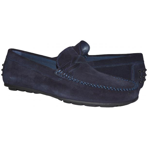 Paolo Shoes Dino Suede Driving Shoes Blue Image