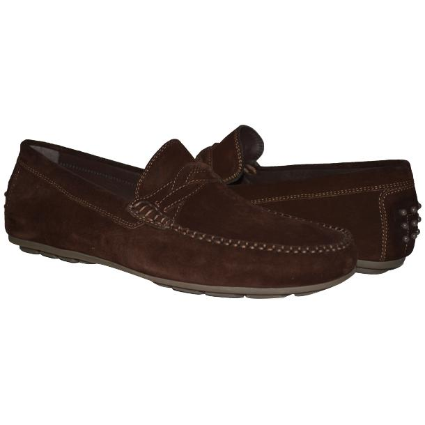 Paolo Shoes Dino Suede Driving Shoes Chocolate Brown Image
