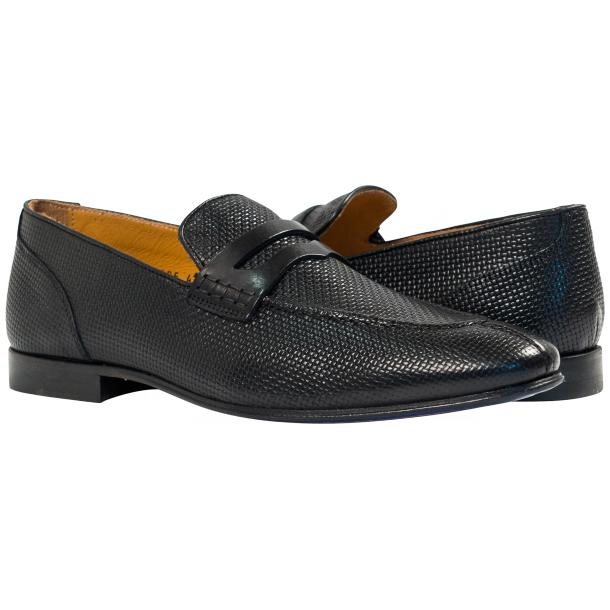 Paolo Shoes Grant Textured Penny Loafers Black Image