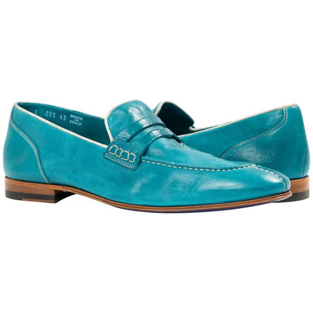 Paolo Shoes Grant Textured Penny Loafers Teal Image
