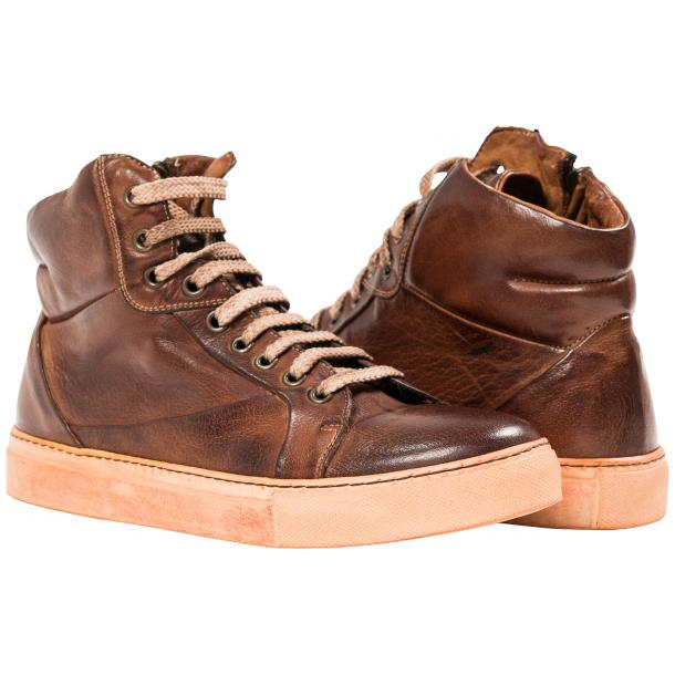 Paolo Shoes Grayson High Top Sneakers Brown Image