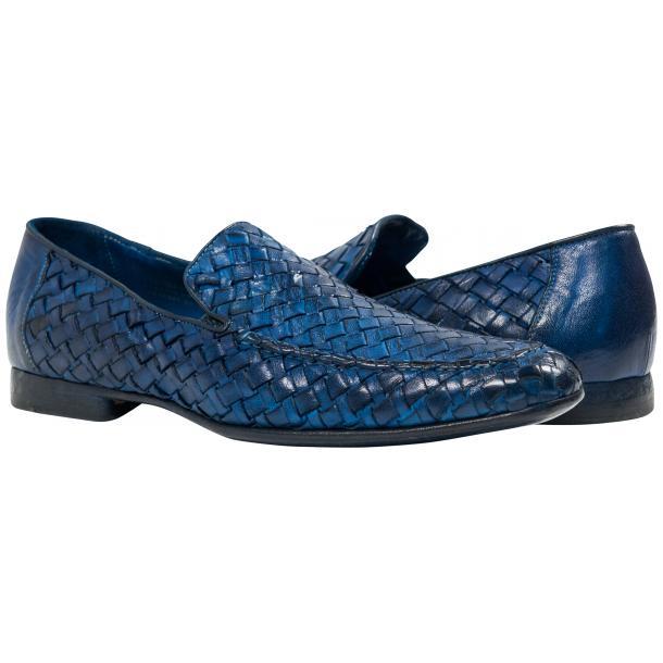 Paolo Shoes Jerome Nappa Woven Loafers Indigo Image