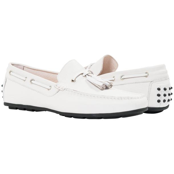 Paolo Shoes Matthew Nappa Tasseled Driving Shoes White Image