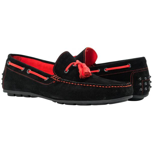 Paolo Shoes Matthew Suede Tasseled Driving Shoes Black / Red Image