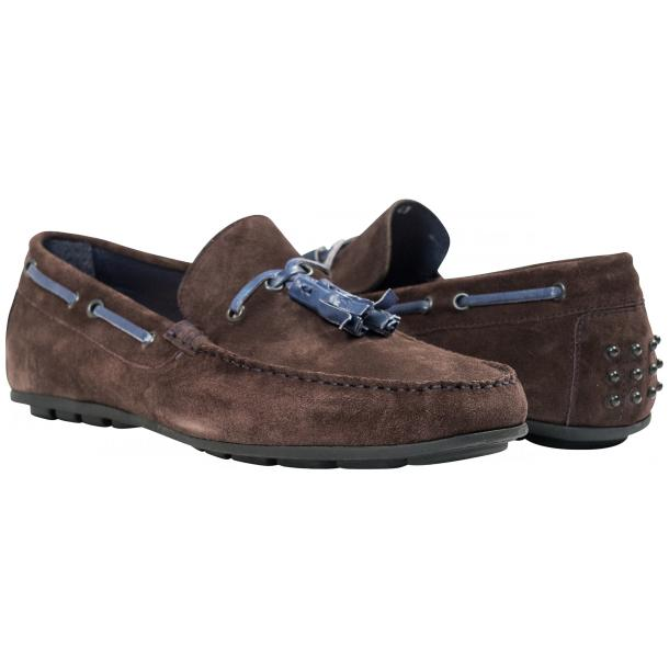 Paolo Shoes Matthew Suede Tasseled Driving Shoes Graphite Image