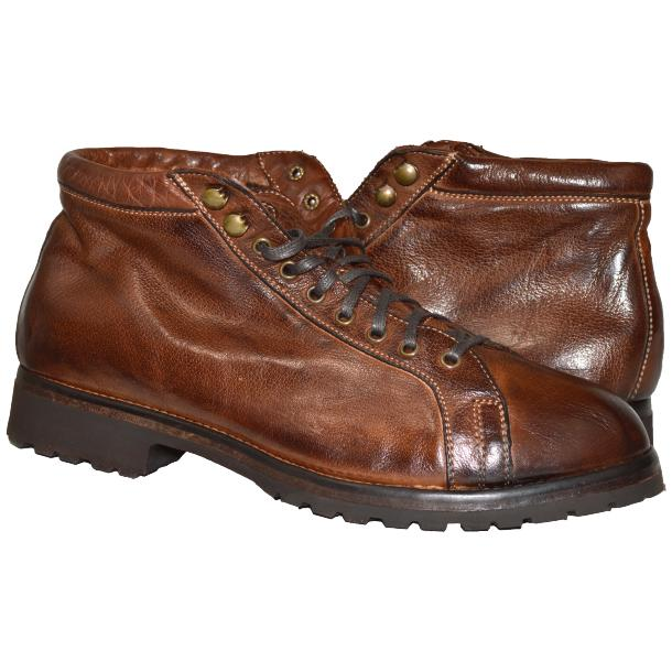 Paolo Shoes Ricardo Nappa Ankle Boots Coffee Brown Image