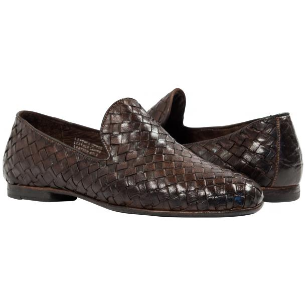 Paolo Shoes Scott Woven Loafers Dark Brown Image