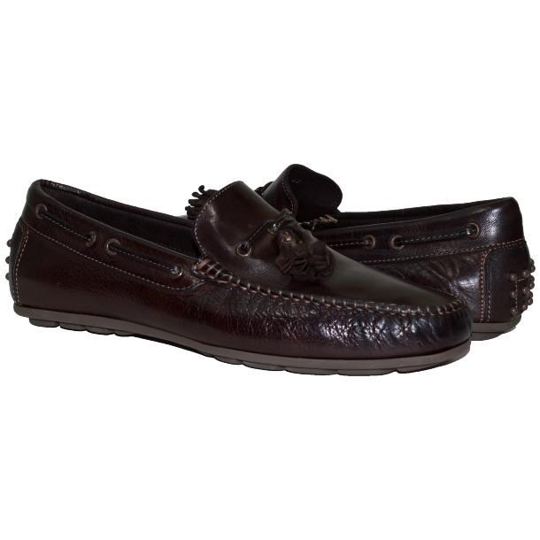 Paolo Shoes Sean Nappa Tasseled Driving Shoes Dark Brown Image