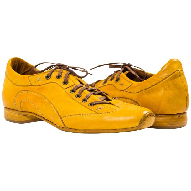 Paolo Shoes Turner Nappa Leather Sole Sneakers Yellow Image