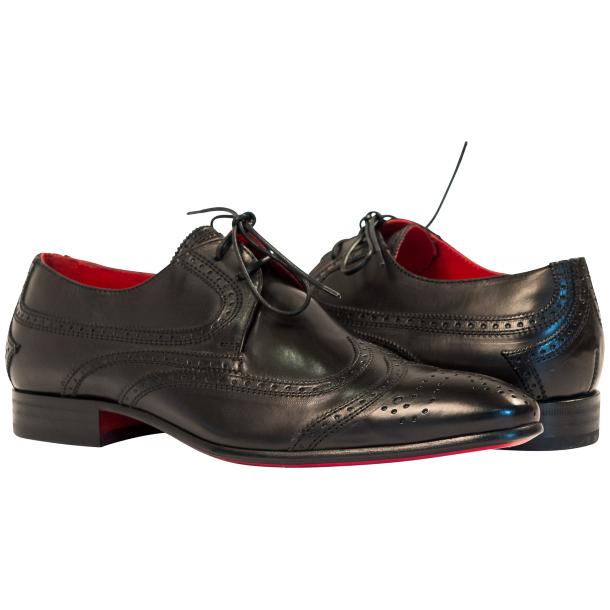 Paolo Shoes Tim Wingtip Derby Shoes Black Image