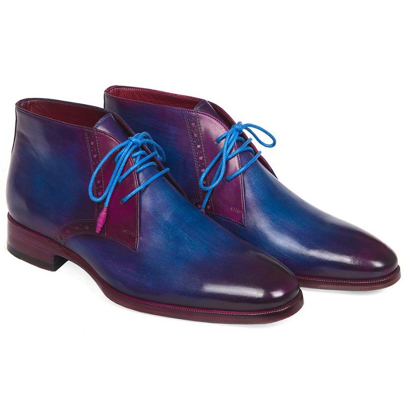 Paul Parkman Calfskin Chukka Boots Blue & Purple Image