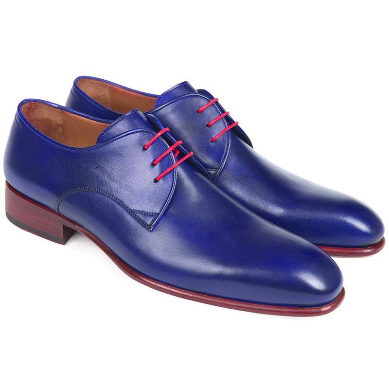 Paul Parkman Calfskin Derby Shoes Blue Image