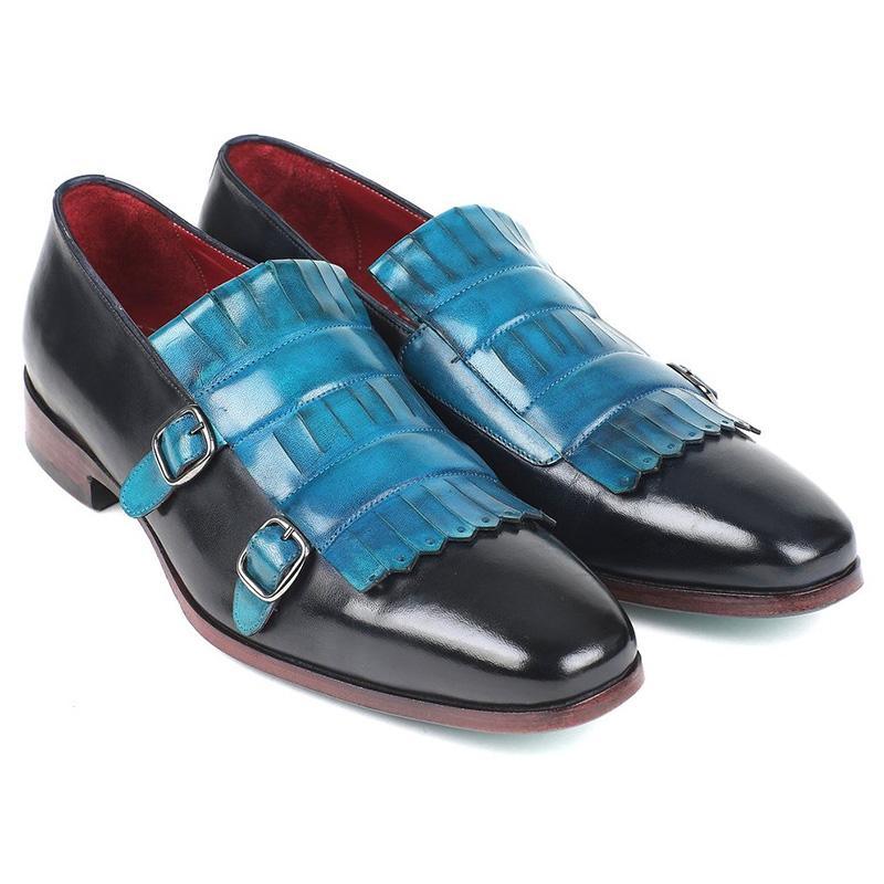 Paul Parkman Calfskin Double Monk Strap Shoes Blue & Navy Image