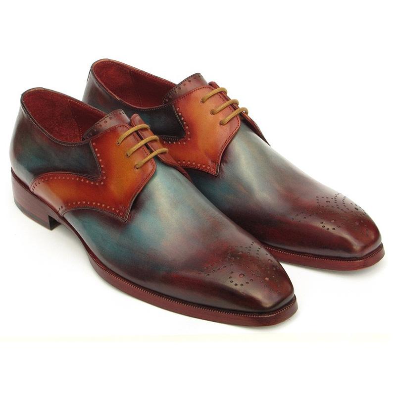 Paul Parkman Calfskin Medallion Toe Derby Shoes Multi Color Image