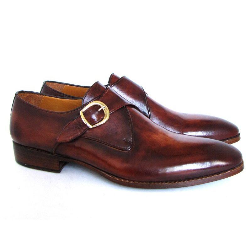 Paul Parkman Calfskin Monk Strap Shoes Brown / Camel Image