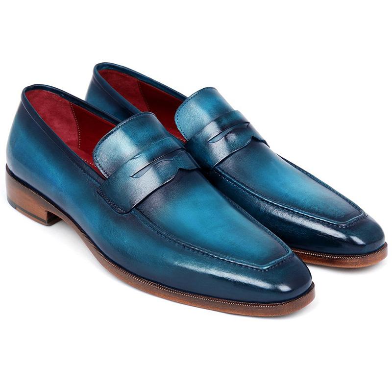 Paul Parkman Calfskin Penny Loafer Shoes Blue & Turquoise Image