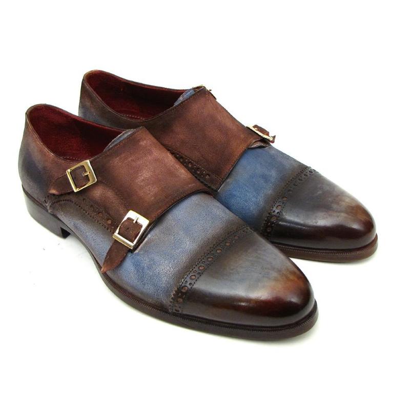 Paul Parkman Cap Toe Monk Strap Shoes Blue / Brown Image