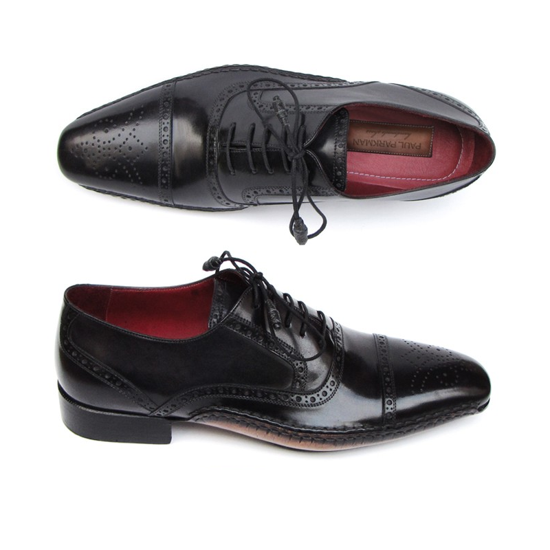 Paul Parkman Cap Toe Side Stitch Brogues Black Image
