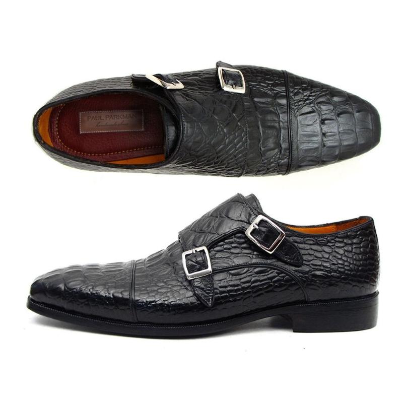 Paul Parkman Crocodile Embossed Double Monk Strap Shoes Black Image