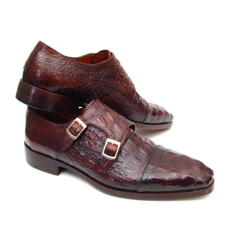 Paul Parkman Crocodile Embossed Double Monk Strap Shoes Bordeaux Image