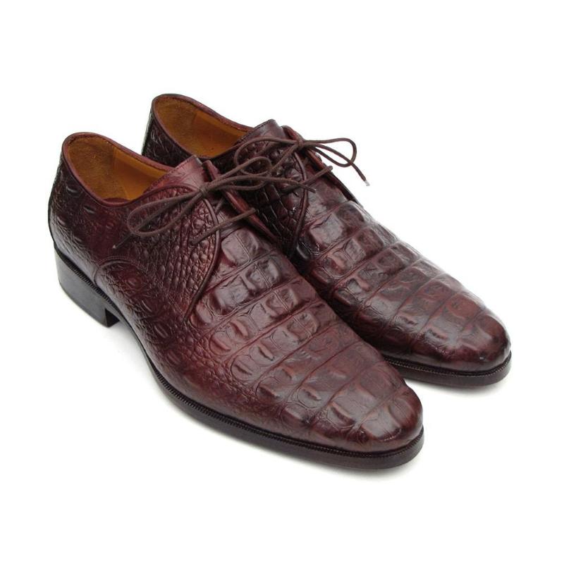 Paul Parkman Crocodile Embossed Derby Shoes Bordeaux Image