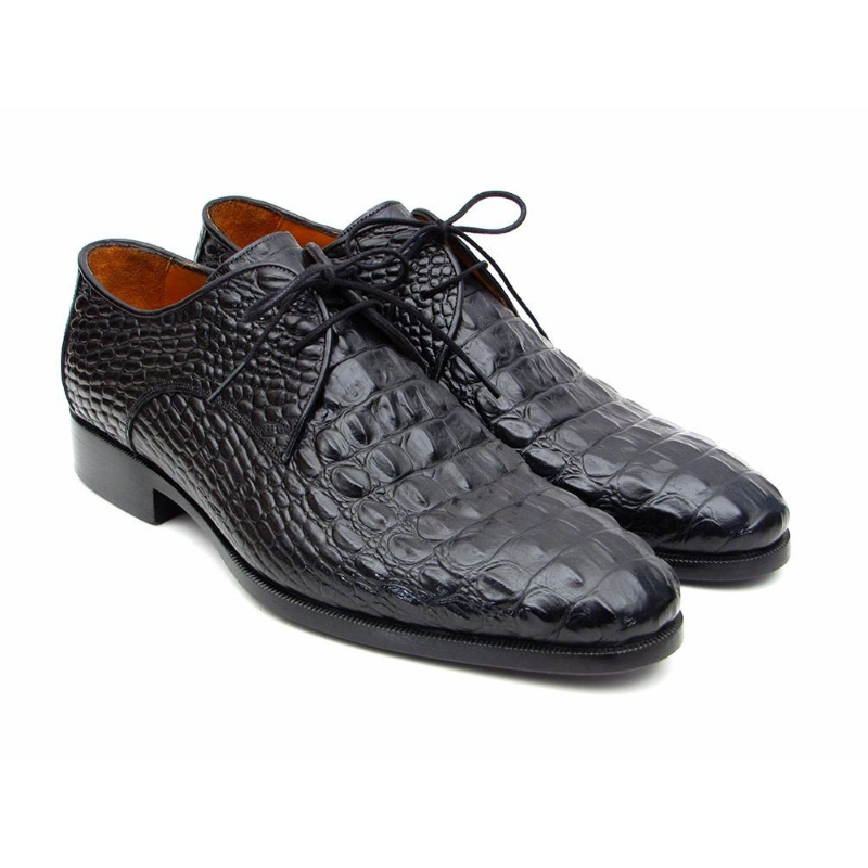 Paul Parkman Crocodile Embossed Shoes Black Image
