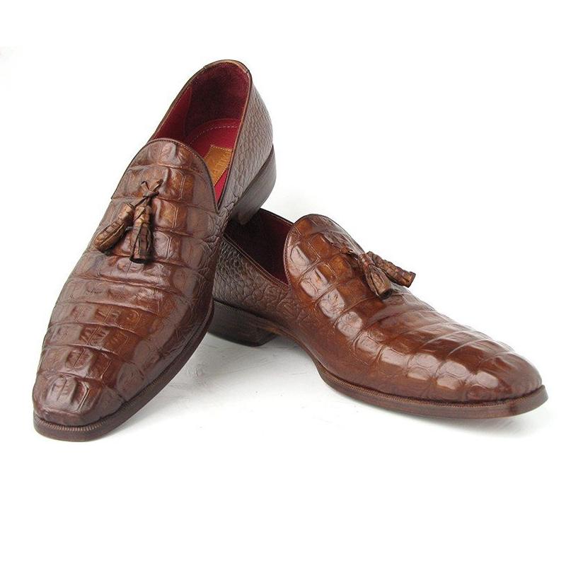 Paul Parkman Crocodile Embossed Tassel Loafers Medium Brown Image