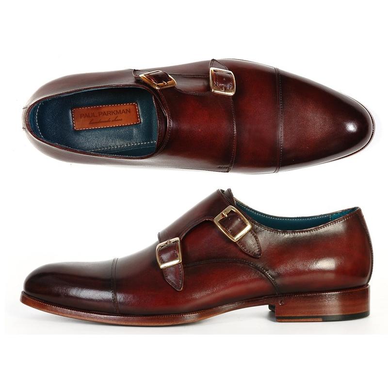 Paul Parkman Calfskin Double Monk Strap Shoes Dark Brown Image