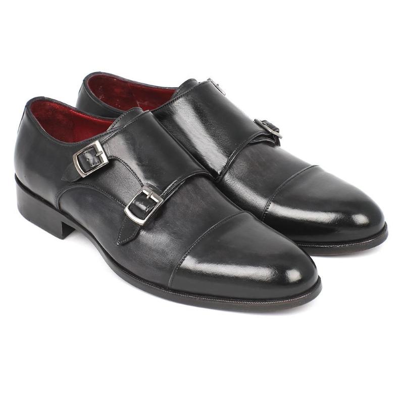 Paul Parkman Double Monk Strap Shoes Gray/Black Image