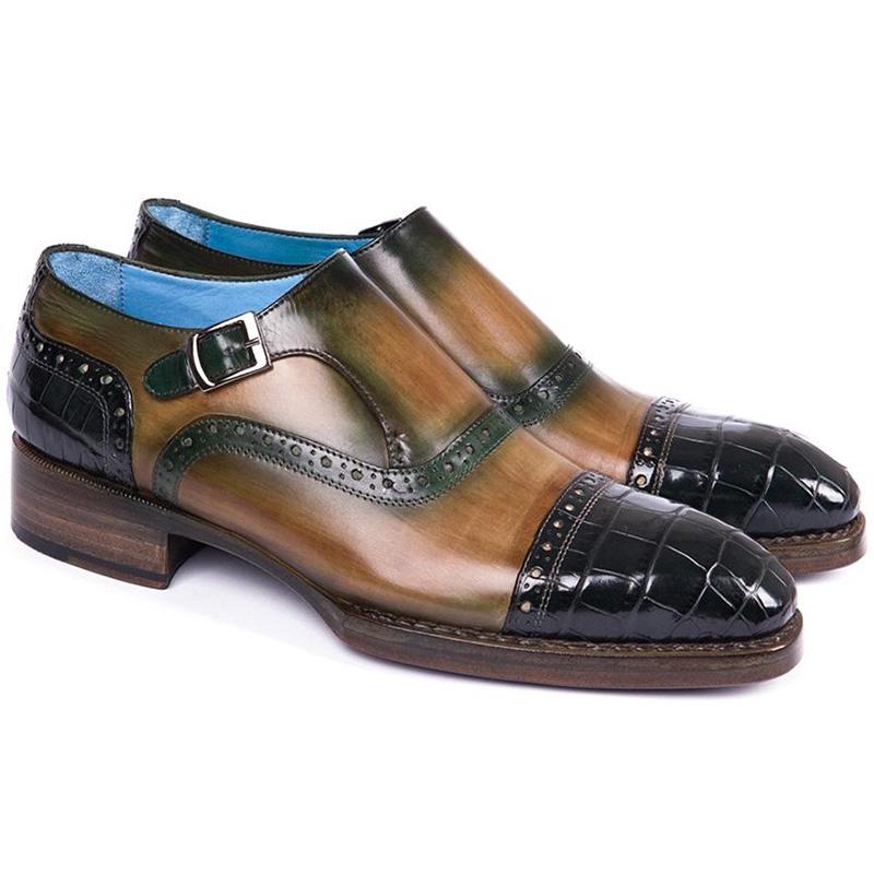 Paul Parkman Embossed Crocodile & Calfskin Captoe Monk Strap Shoes Green Image