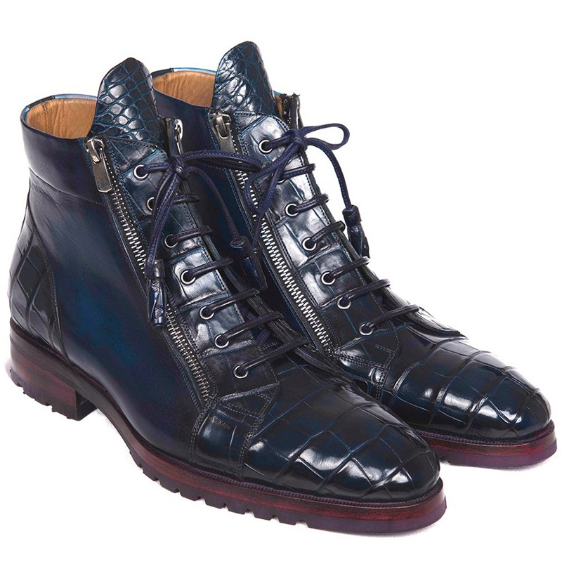 Paul Parkman Embossed Crocodile & Calfskin Side Zipper Boots Blue Image