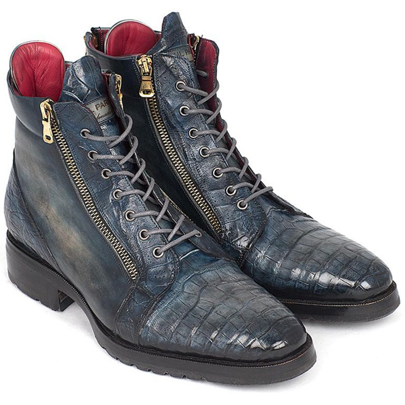 Paul Parkman Embossed Crocodile & Calfskin Side Zipper Boots Navy Image
